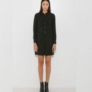 A.P.C. Megan Black Textured Shirt Dress Size 40/L